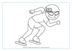 Speed skating colouring sheet