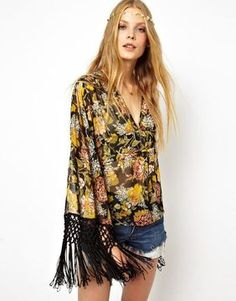 ASOS Blouse With Fringe Kimono Sleeve In Floral Print on shopstyle.com