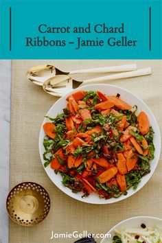 Sweet carrots and savory Swiss chard ribbons, my new favorite side.Kale is an excellent swap for chard in this recipe. #roshhashanah #vegan #carrot Appetizer Recipes, Appetizers, Sweet Carrot, 5 Ingredient Recipes, Quick Easy Meals, Kale, Vegan Vegetarian, Ribbons, Sweet Potato