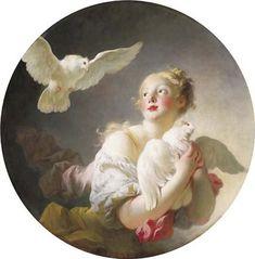 Jean-Honoré Fragonard - Fille tenant une colombe (aussi connu comme dit être un portrait de Marie-Catherine Colombe)