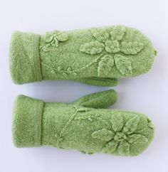 Women's Lime Green Upcycled Wool Mittens  Free by MJOriginalsLLC