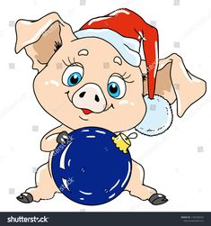 Cute pig with a Christmas tree toy. Pig cartoon character for postcard. Mary Christmas, Christmas Tree Toy, Christmas Images, Christmas And New Year, Christmas Cookies, Miniature Cows, New Years Cookies, New Year's Crafts, Baby Pigs