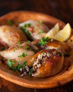 Lebanese Roasted Stuffed Onions ~ http://steamykitchen.com  * 3 softball sized onions * Less cinnamon * Add chili flakes