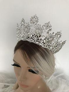 Silver Tiara Bridal Crown Crystal Wedding Tiara Wedding Hair | Etsy Bridal Hairpiece, Bridal Crown, Bridal Tiara, Bridal Lace, Wedding Dresses With Flowers, Wedding Dresses With Straps, Silver Tiara, Wedding Gloves, Crystal Wedding