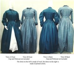 1840s—1860 Ladies' Pleated Wrapper, Morning Dress, Work Dress and Maternity Dress with pleated bishop or pagoda sleeve, with or without standing collar.