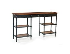 ALDEN PARKES -  Provencal 3-Tiered Console           .      ACCS-PROV  . .     A wonderful console for the hallway, this piece features a single middle drawer , a raised edge around the top and cane shelves. Delicate legs, fine distressing and hand carved details round off this mahogany console. ACCS-PROV