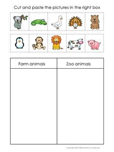 Sorting Activity for young learners. Children sort the animals by four different categories. This set has 6 worksheets in color and 12 worksheets in black and white plus answer keys. Animals Sorting Set is also part of Sorting Sets Bundle Have fun ! Animal Worksheets, Kindergarten Worksheets, Worksheets For Kids, Graphing Worksheets, Number Worksheets, Alphabet Worksheets, Farm Activities, Sorting Activities, Zoo Animal Activities