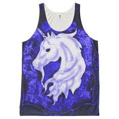 Blue Gothic Renaissance Unicorn Airbrush Art All-Over Print Tank Top