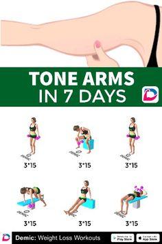 Tone Arms In 7 Days - Handywork Fitness Gym Workout Tips, Pilates Workout, Fitness Workouts, Easy Workouts, Workout Videos, At Home Workouts, Wall Workout, Pilates Mat, Pop Pilates