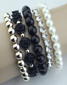 Layered Beaded Bracelet – 9 Pieces! Black  $17.00  Fashion Jewelry at Modest Prices - www.gomodestly.com