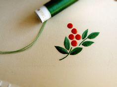 南天の日本刺繍