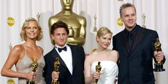 """Best Actress Charlize Theron (""""Monster""""), Best Actor Sean Penn (""""Mystic River""""), Best Supporting Actress Renée Zellweger (""""Cold Mountain"""") and Best Supporting Actor Tim Robbins (""""Mystic River"""")."""