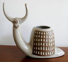 Vintage 60s Lisa Larson Stig Lindberg Era Studio Pottery Figural Snail Planter
