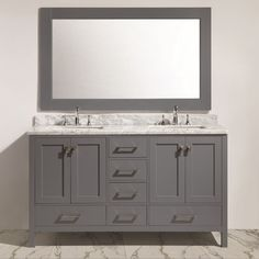 Finished in your choice of available elegant matte color, the wooden Design Element London Hyde 60 in. Double Bathroom Vanity Set includes a large. Double Sink Vanity, Vanity Set With Mirror, Bathroom Vanity Cabinets, Bathroom Furniture, Contemporary Baths, Modern Bathroom, Master Bathroom, Bathroom Ideas, Attic Bathroom