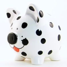 Dalmation Dog Piggy Bank - Personalized Piggy Bank - Puppy Piggy Bank - Spot the Fireman Dog Bank - Girls Room Accessories, Pig Bank, Penny Bank, Personalized Piggy Bank, Paint Your Own Pottery, Cute Baby Gifts, Dalmatian Dogs, Cute Piggies, This Little Piggy