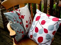 """Nissa - Duck egg blue and Red Cushion cover, pillow cover, pillow sham, throw pillow  16 """" inch in a beautiful designer fabric"""