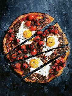 DONNA HAY'S SPICY LAMB PIZZA with VINE-RIPENED TOMATOES & EGGS [Donna Hay]