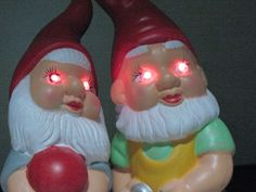 How-To: Demonic Garden Gnomes. we could do this to your little gnomes that came with the house and see if T notices! Samhain Halloween, Holidays Halloween, Halloween Crafts, Holiday Crafts, Halloween Decorations, Halloween Ideas, Halloween 2019, Evil Gnome, Funny Gnomes