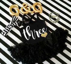 Black and White Glitter Three 3rd Birthday Tutu Dresses For 3 Year Old Toddler Girls