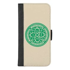 Create Your Own Celtic Knot Shamrock Green Irish iPhone 8/7 Plus Wallet Case - pattern sample design template diy cyo customize