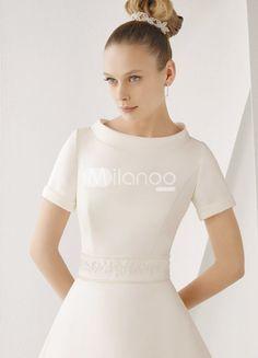 Classical White Satin A-line Sweep Luxury Wedding Dress