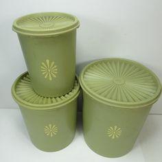 Set of 3 Vintage Tupperware Servalier Canister Storage Avocado Green Nesting