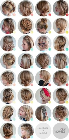 30 day hair challenge; there are some pretty cool braid ideas on here.. and if you click the link theres some info on an ebook with step by step instructions for all of these lovely styles xD