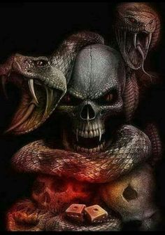 Skull and snake Payasa Tattoo, Reaper Tattoo, Punisher Skull Tattoo, Dark Fantasy Art, Dark Art, Skull Tattoos, Body Art Tattoos, Totenkopf Tattoos, Skull Pictures