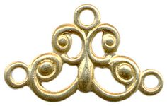 Brass Charm, Filigree, 3-loop, 7x12mm