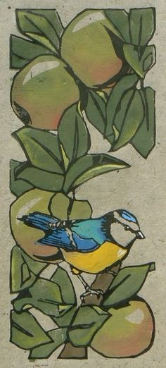 Jane Kendall (Striped Pebble) ~ Blue Tit in the Apple Tree ~ Linocut, hand made hemp paper, hand colored with acrylic paint