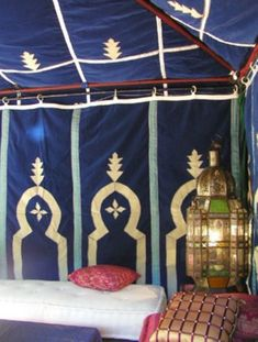 a Moroccan tent with low lounge furniture, rugs, floor pillows and lanterns to create a Berber atmosphere Moroccan Tent, Moroccan Home Decor, Moroccan Design, Moroccan Style, Outdoor Spaces, Outdoor Living, Moorish, Bohemian Decor, Glamping