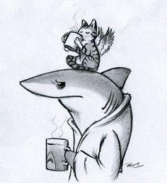 Coffee Shark by RobtheDoodler.deviantart.com on @DeviantArt