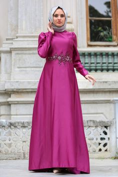 EVENING DRESS - FLOWER DETAILED FUCHSIA HIJAB DRESS - 3213F Muslim Dress, Hijab Dress, Kebaya, Flower Dresses, Evening Dresses, Couture, Modern, Clothes, Collection
