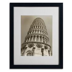 "Trademark Art ""Pisa Tower II"" by Chris Bliss Framed Photographic Print Size:"