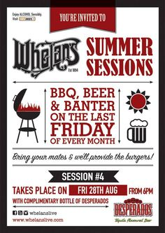 Fri 28 August - Summer Sessions BBQ at Whelans, Dublin August Summer, Youre Invited, Dublin, Alcoholic Drinks, Bbq, Invitations, Poster, Barbecue, Barrel Smoker