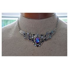 Victorian Choker,Swarovski Crystal HELIOTROPE Choker,Antique... ❤ liked on Polyvore featuring jewelry, necklaces, gothic necklaces, gothic chokers, goth choker necklace, victorian choker and victorian jewelry