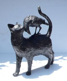 Vicki Banks - Cat 'n' Crow bronze sculpture