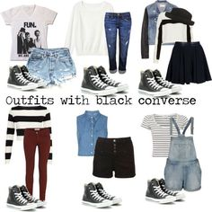 """""""Outfits with black converse"""" by eleanorcalderstyleinspired ❤ liked on Polyvore"""