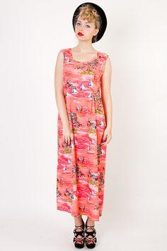 Vintage hawaii printed long dress S-M-L - VintageForEver - Sukienki maxi Aloha Hawaii, Jumpsuit, Summer Dresses, Printed, Etsy, Vintage, Fashion, Catsuit, Summer Sundresses