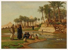 Fellah (Farmer) Family before  Pyramids ,Georg Macco  1863 - 1933  German