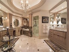 Formal traditional master bathroom - marble - ceilings - lights - cabinetry.  Provence | Park Shore | Naples, Fl