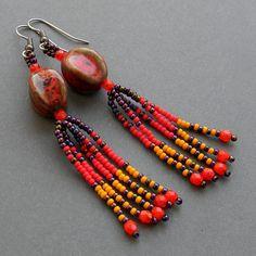 Colorful beaded earrings with ceramic beads - fringe earrings