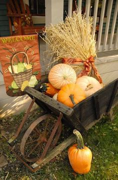fall front porch decor, porches, seasonal holiday decor, I brought the old wagon out and filled it with gourds pumpkins and wheat stalks