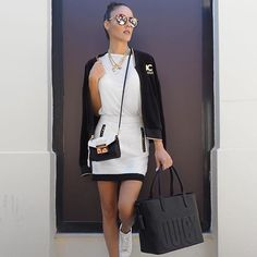 Greek blogger, @nansoumou shows us how to maximize a minimal color palette. #GLOBALGIRLSQUAD #TRACKISBACK Fashion Lighting, Black N White, Spring Outfits, Leather Skirt, Instagram Posts, Minimal, Greek, Palette, Street Style