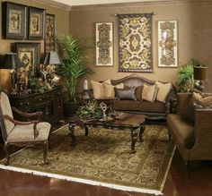 Get fantastic brown living room ideas on brown home decor and decorating with brown with these photos and tips. Tuscan Living Rooms, Formal Living Rooms, Tuscan Design, Tuscan Style, Living Room Furniture, Living Room Decor, Dining Room, Tuscany Decor, Brown Home Decor