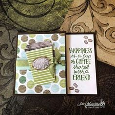 Stampin' Up - Gift Card Holder - Coffee Cafe - Coffee Cups Framelits - Coffee Break DSP - i♥Cards2