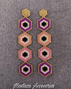 Big Earrings, Seed Bead Earrings, Beaded Earrings, Bead Embroidery Jewelry, Beaded Embroidery, Beading Tutorials, Beading Patterns, Bead Jewellery, Beaded Jewelry