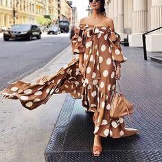 Fashion Off The Shoulder Point Print Maxi Dress