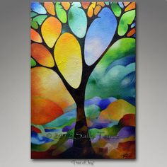 Original abstract painting 36x24 inch abstract landscape tree painting, Commission Painting, lots of texture, Tree of Joy by Sally Trace