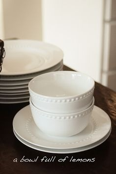 More pretty, white dishes! Farmhouse Dinnerware Sets, White Dinnerware, Kitchen Pantry Design, Kitchen Decor, Kitchen Ideas, Walmart Dinnerware, White Dishes, Tableware, Kitchen